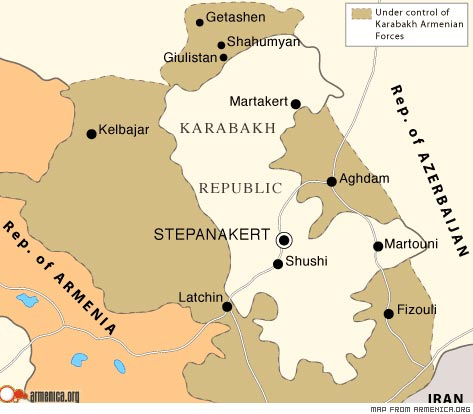 What are the borders of NagornoKarabakh Armenian Forum