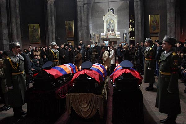 Service for killed Armenian pilots held at Yerevan church