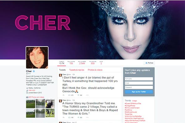 Cher says Turkish government should acknowledge Armenian Genocide
