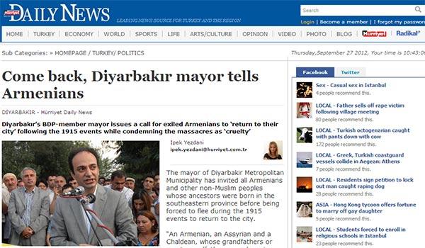 Hurriyet: Come back, Diyarbakır mayor tells Armenians
