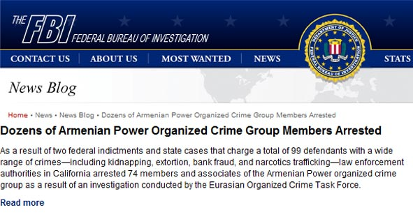 Proud to Be Armenian: 99 gang members indicted in bust of US Armo crime syndicate