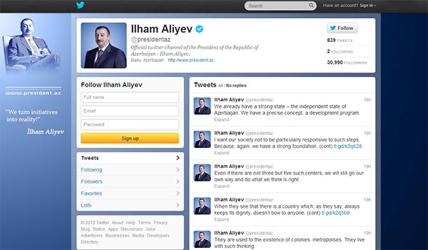 Twitting Aliyev: Azeri president puts anti-Armenian comments out on social networking website