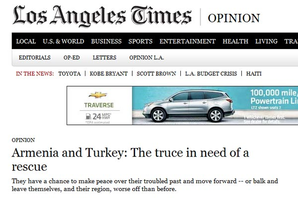 "LA Times Editorial: Armenia-Turkey relations will worsen if ""truce"" not ""rescued"""