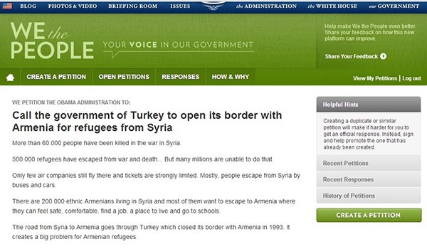 White House Petition: Obama asked to call on Turkey to open border with Armenia for Syria refugees