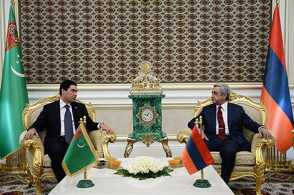 Armenian president pays official visit to Turkmenistan