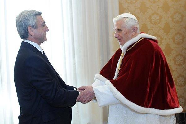 Ընդունելություն Վատիկանում. ՀՀ նախագահը հանդիպում է ունեցել Բենեդիկտոս XVI-ի հետ