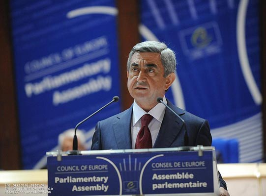 President Serzh Sargsyan speaks at PACE plenary meeting
