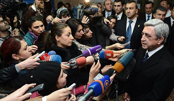 President Sargsyan says Hayrikyan shooting aimed at derailing election
