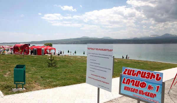 Available 'Blue Pearl': Public beaches proved popular with Lake Sevan holidaymakers